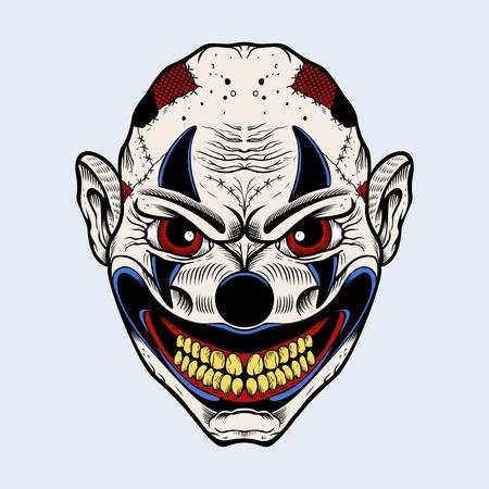 clown cirque: Illustration clown effrayant avec des yeux rouges.