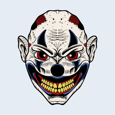 Illustration of scary clown with red eyes. Illustration