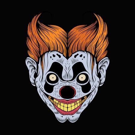 Ilustración de payaso rojo de miedo con los dientes amarillos.