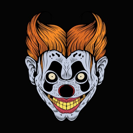 Illustration of scary red clown with yellow teeth.