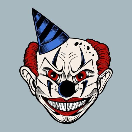 Cartoon miedo payaso malo en una gorra azul sonríe. Ilustración color.