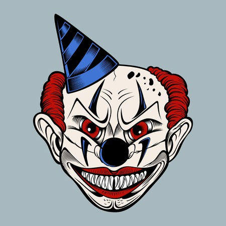 Cartoon scary evil clown in a blue cap grins. Colored illustration.