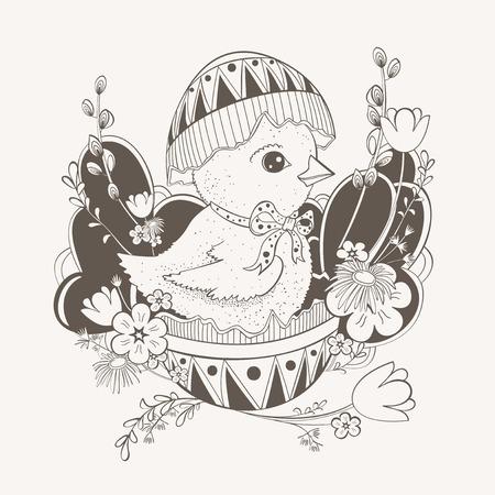 яичная скорлупа: Пасхальная открытка с изображением курицы, которая сидит в яичной скорлупы. Иллюстрация