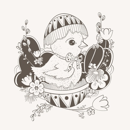 eggshell: Easter card with picture of a chicken that is sitting in the eggshell.