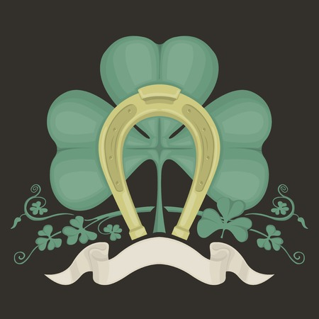 Illustration of clover and gold horseshoe for St. Patriks day. Vector