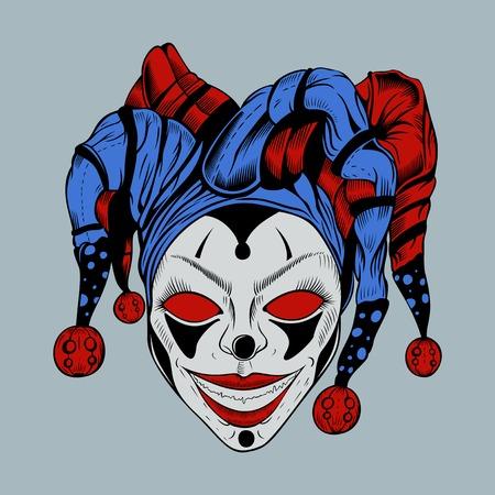 payasos caricatura: Payaso malvado de la historieta con los ojos rojos en la foolscap sonrisa coloreada de miedo. Vectores
