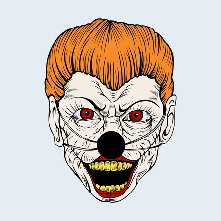 rotten teeth: Cartoon evil clown red with red eyes and yellow teeth rotten. Illustration