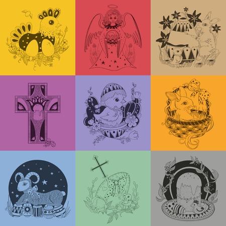 pasen schaap: Set van Pasen illustratie.