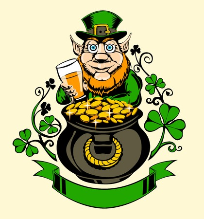 leprechaun: Leprechaun with pot of gold and holding a beer. Illustration for St. Patricks Day.