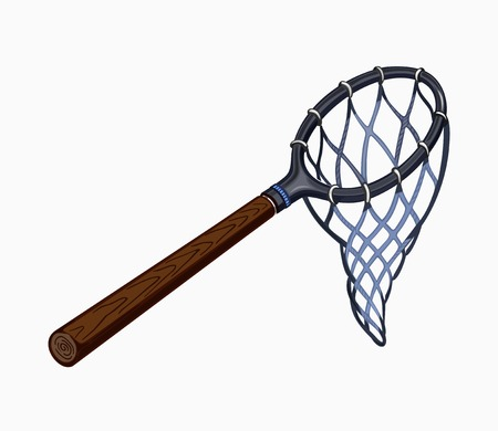 fishing net: Illustration of butterfly net with handle. Colored on white background.