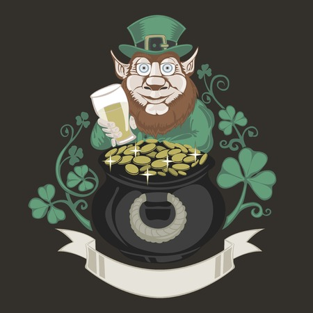 illustraion: Leprechaun with pot of gold and holding a beer. Colored illustraion on black background.