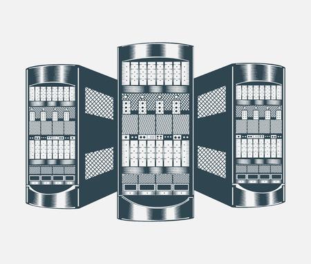service center: Illustration of network server. Black and white.