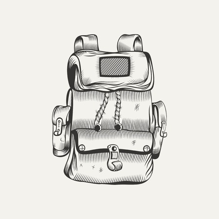 Illustration of backpack. Camping gear, hiking.