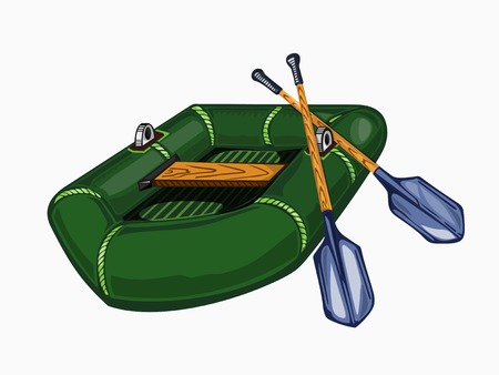 Illustration of inflatable boat with oars. Colored.