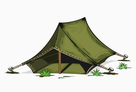 塗られたテントのイラスト。白い背景の色。