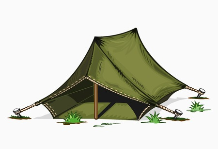 Illustration of painted tent. Colored on white background.