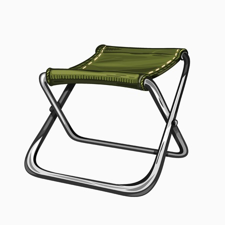 folding chair: Illustration of isolated folding camp chair. Colored on white background. Camping gear, hiking.