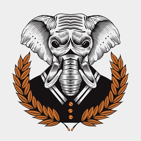 laureate: Illustration of elephant, framed by laurel branches in sailor suit on white background.