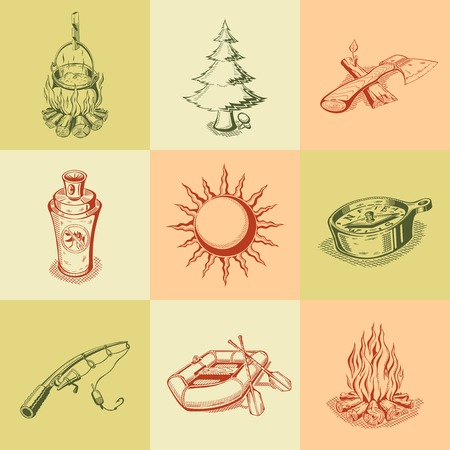 It is a set of different camping icons. Colored. Vector