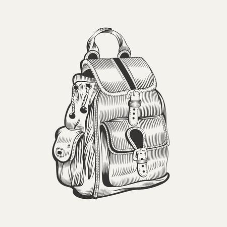 이 가방의 그림입니다. 하이킹, 기어 캠핑. 일러스트