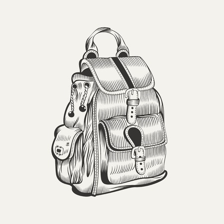 merit: It is a illustration of backpack. Camping gear, hiking. Illustration