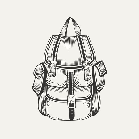 Illustration of hiking backpack. Camping gear.