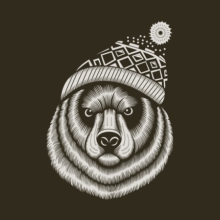 pompon: Illustration of bear hipster in knitted hat with jacquard pattern.