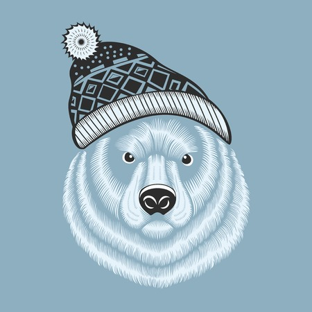jacquard: Illustration of bear hipster in knitted hat with jacquard pattern. Monochrome. Illustration