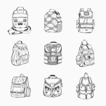 Set of different hiking backpack. Camping gear.