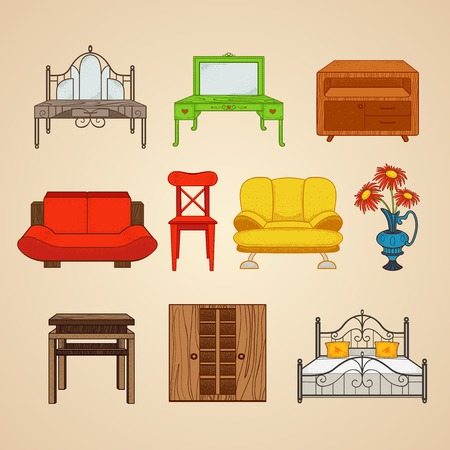 Set of ten illustrations of home furnishings.