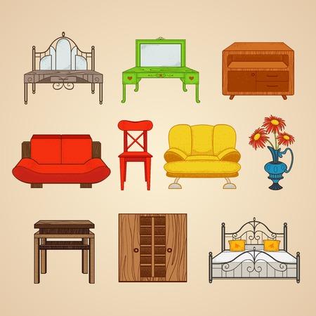 boudoir: Set of ten illustrations of home furnishings. Illustration