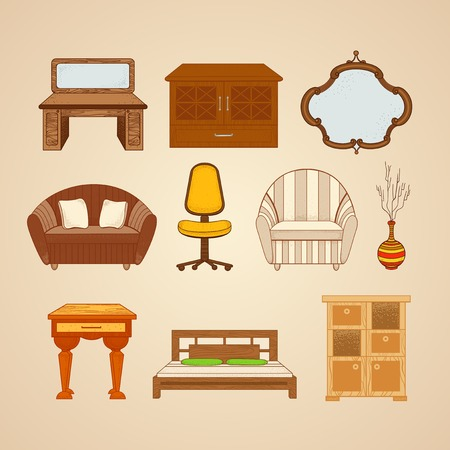 home furnishings: Set of ten illustrations of home furnishings on a beige background.