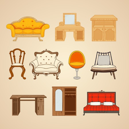 Set of ten illustrations of home furnishings in different style. Illustration