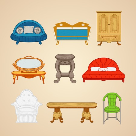 furnishings: Illustrations of home furnishings  in different style on a beige background.