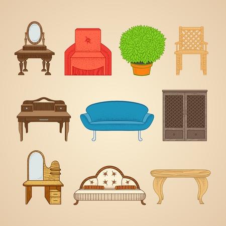 Set of ten illustrations home furnishings on a beige background. Illustration