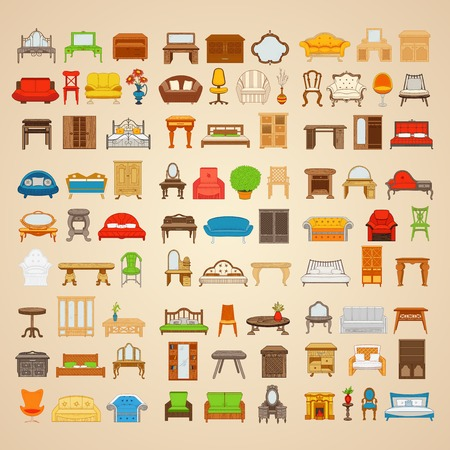 Set of eighty six illustrations furniture for home in different style on a beige background.