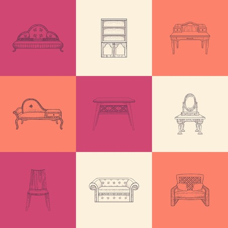 home furnishings: Set of nine illustrations furniture for home on colored background.