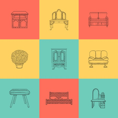 home furnishings: Set of illustrations home furnishings  in different style on colored background.