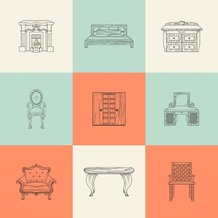furnishings: Illustrations of home furnishings on colored background. Illustration