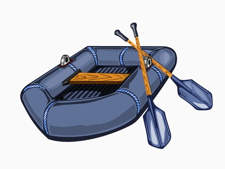 Illustration of inflatable boat with oars. Colored on white background. Illustration