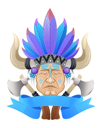 tomahawk: Illustration of the Indian chief with a tomahawk.