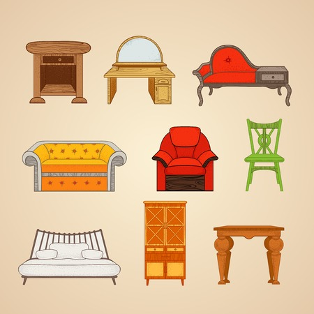 boudoir: Set of illustrations home furnishings  in different style on a beige background.