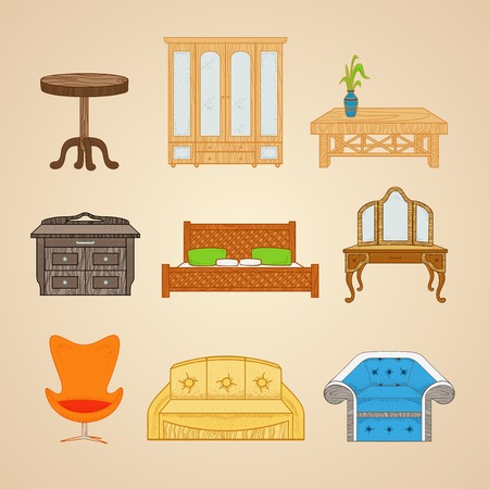 settee: A set of furniture in different styles on a beige background.