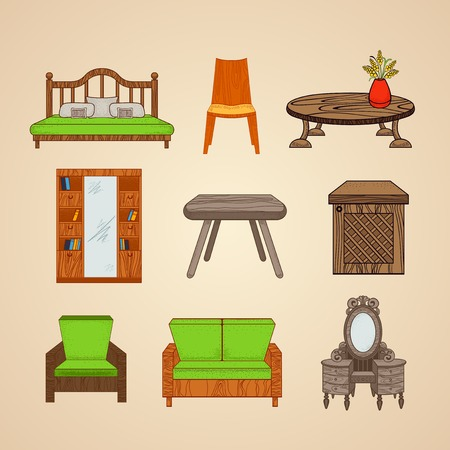 furnishings: Set of illustrations home furnishings  in different style on a beige background.