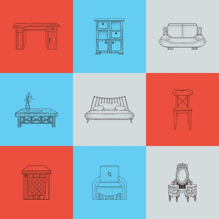 furnishings: It is a illustrations of home furnishings on colored background.