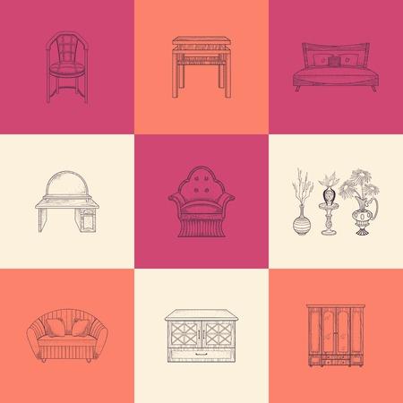 bedside: Set of illustrations furniture for home on different color background.