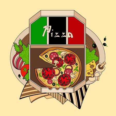 italian cuisine: Illustration pizza in a box, one of the Italian cuisine. Fastfood.