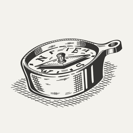 old west: Illustration of a compass on white background. Camping gear, hiking. Illustration