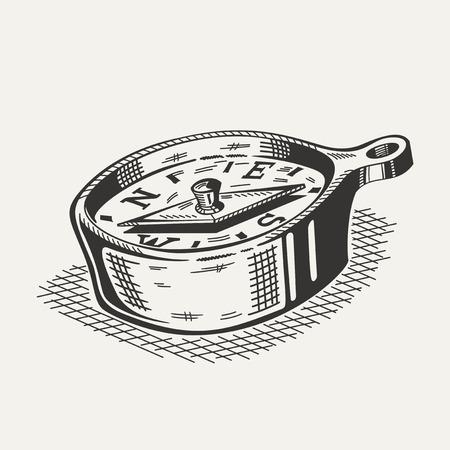 compas de dibujo: Ilustración de una brújula en el fondo blanco. Material de camping, senderismo. Vectores