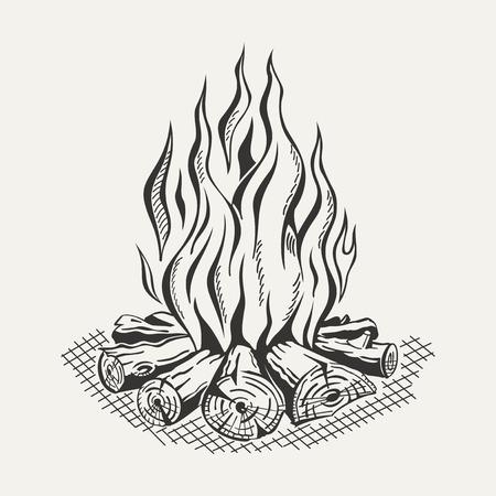 Illustratie van geïsoleerde kamp vuur op een witte achtergrond. Monochroom. Vector Illustratie